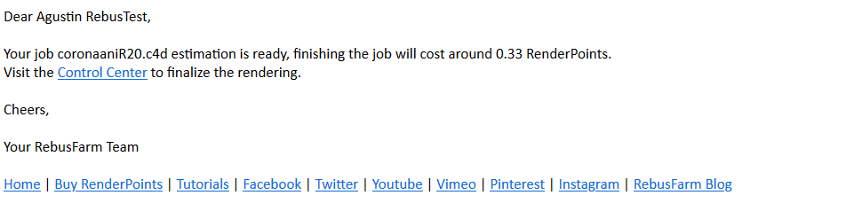 E-Mail stating the estimated costs for the render farm