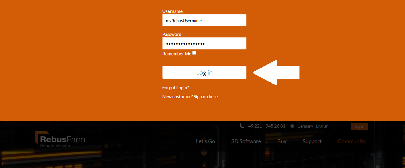 Render farm login button