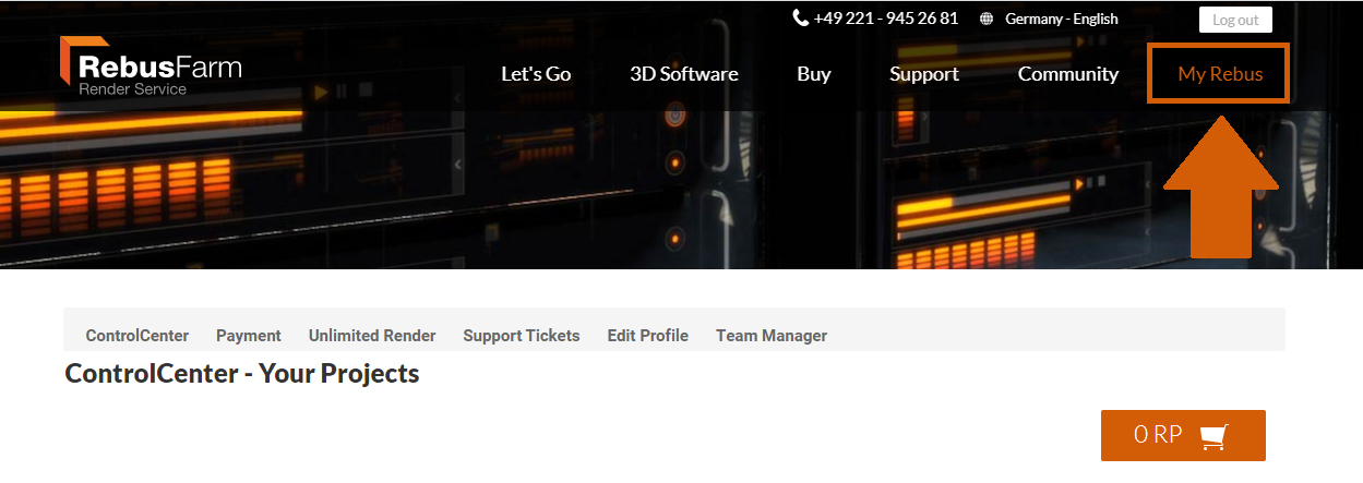 'My Rebus' button on the render farm website menu