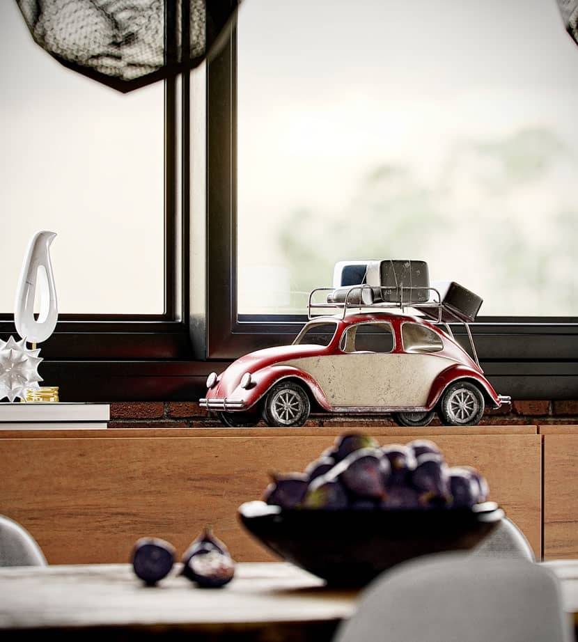 Detail of the kitchen - little toy car