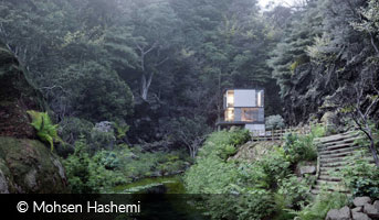 mohsen hashemi house in woods by-river